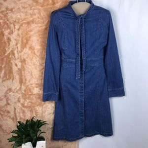 Madewell button down denim dress with neck bow